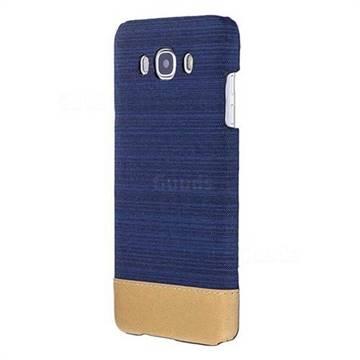 Canvas Cloth Coated Plastic Back Cover for Samsung Galaxy J7 2016 J710 - Dark Blue