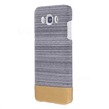Canvas Cloth Coated Plastic Back Cover for Samsung Galaxy J7 2016 J710 - Light Grey