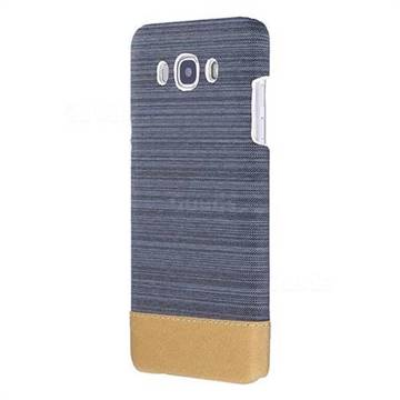 Canvas Cloth Coated Plastic Back Cover for Samsung Galaxy J7 2016 J710 - Dark Grey