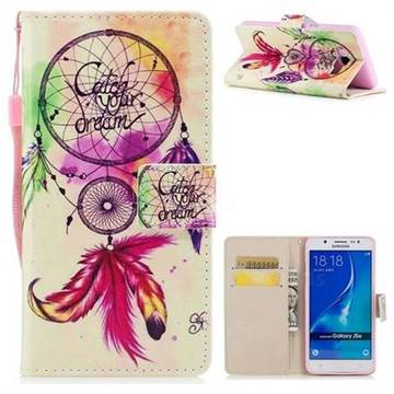 Feather Wind Chimes PU Leather Wallet Case for Samsung Galaxy J7 2016 J710