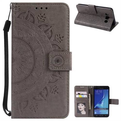 Intricate Embossing Datura Leather Wallet Case for Samsung Galaxy J7 2016 J710 - Gray