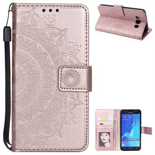 Intricate Embossing Datura Leather Wallet Case for Samsung Galaxy J7 2016 J710 - Rose Gold