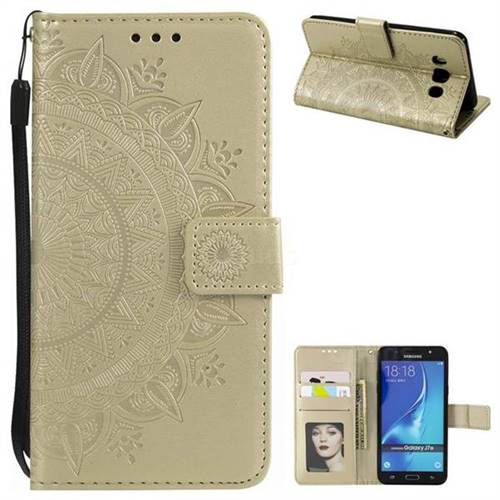 Intricate Embossing Datura Leather Wallet Case for Samsung Galaxy J7 2016 J710 - Golden