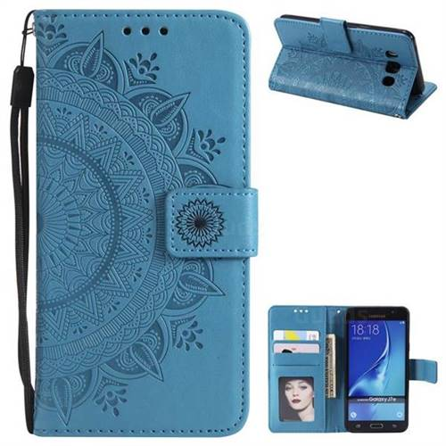 Intricate Embossing Datura Leather Wallet Case for Samsung Galaxy J7 2016 J710 - Blue