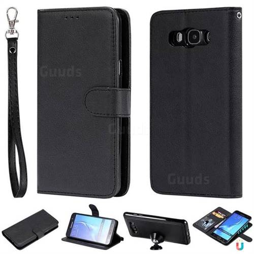 Retro Greek Detachable Magnetic PU Leather Wallet Phone Case for Samsung Galaxy J7 2016 J710 - Black
