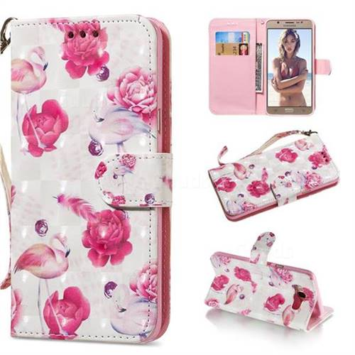 Flamingo 3D Painted Leather Wallet Phone Case for Samsung Galaxy J7 2016 J710
