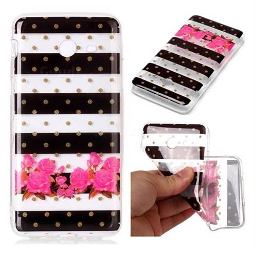 Striped Flowers Super Clear Soft TPU Back Cover for Samsung Galaxy J7 2017 Halo US Edition