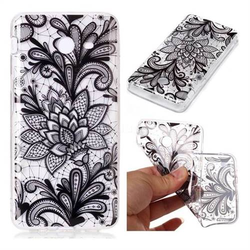 Black Rose Super Clear Soft TPU Back Cover for Samsung Galaxy J7 2017 Halo US Edition