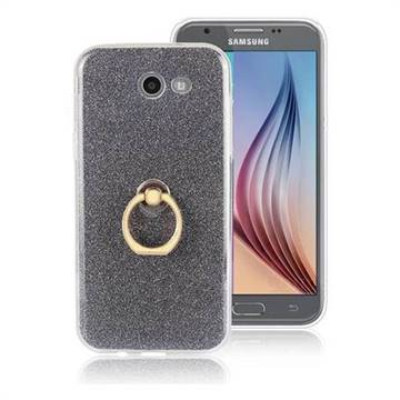 Luxury Soft TPU Glitter Back Ring Cover with 360 Rotate Finger Holder Buckle for Samsung Galaxy J7 2017 Halo US Edition - Black