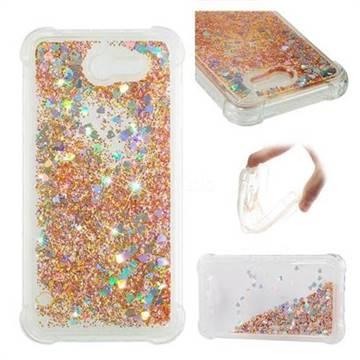 Dynamic Liquid Glitter Sand Quicksand Star TPU Case for Samsung Galaxy J7 2017 Halo US Edition - Diamond Gold