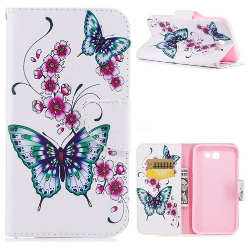 Peach Butterfly Leather Wallet Case for Samsung Galaxy J7 2017 Halo