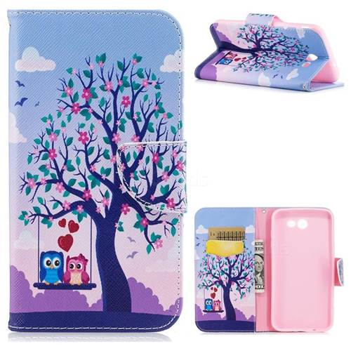 Tree and Owls Leather Wallet Case for Samsung Galaxy J7 2017 Halo