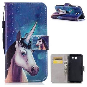 Blue Unicorn PU Leather Wallet Case for Samsung Galaxy J7 2017 Halo US Edition