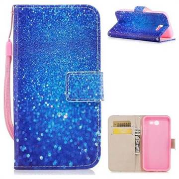 Blue Powder PU Leather Wallet Case for Samsung Galaxy J7 2017 Halo US Edition