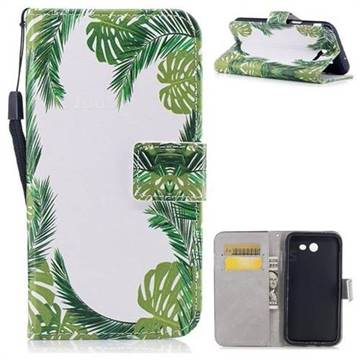 Green Leaves PU Leather Wallet Case for Samsung Galaxy J7 2017 Halo US Edition