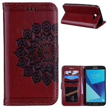 Datura Flowers Flash Powder Leather Wallet Holster Case for Samsung Galaxy J7 2017 Halo US Edition - Brown