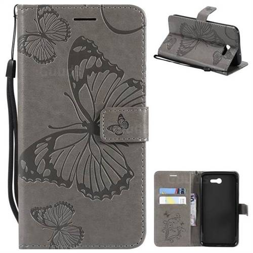 Embossing 3D Butterfly Leather Wallet Case for Samsung Galaxy J7 2017 Halo US Edition - Gray
