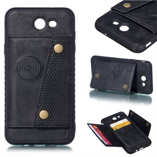 Retro Multifunction Card Slots Stand Leather Coated Phone Back Cover for Samsung Galaxy J7 2017 Halo US Edition - Black