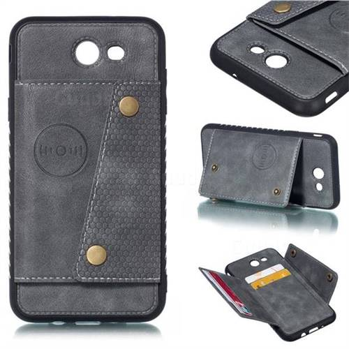 Retro Multifunction Card Slots Stand Leather Coated Phone Back Cover for Samsung Galaxy J7 2017 Halo US Edition - Gray