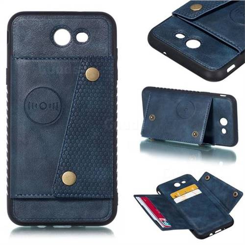 Retro Multifunction Card Slots Stand Leather Coated Phone Back Cover for Samsung Galaxy J7 2017 Halo US Edition - Blue