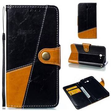 Retro Magnetic Stitching Wallet Flip Cover for Samsung Galaxy J7 2017 Halo US Edition - Black