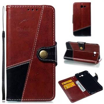 Retro Magnetic Stitching Wallet Flip Cover for Samsung Galaxy J7 2017 Halo US Edition - Dark Red
