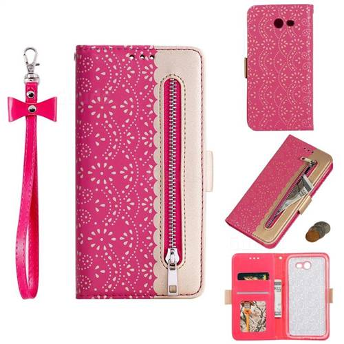 Luxury Lace Zipper Stitching Leather Phone Wallet Case for Samsung Galaxy J7 2017 Halo US Edition - Rose