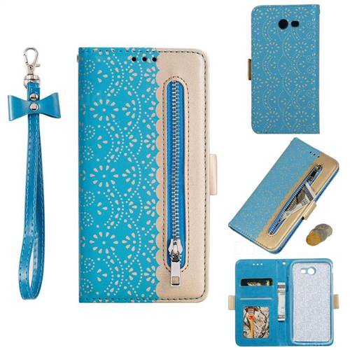 Luxury Lace Zipper Stitching Leather Phone Wallet Case for Samsung Galaxy J7 2017 Halo US Edition - Blue