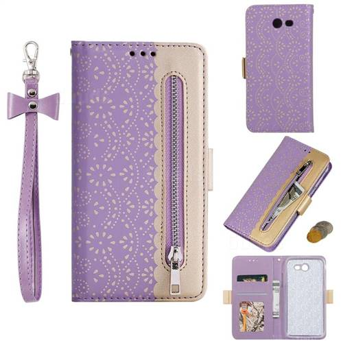 Luxury Lace Zipper Stitching Leather Phone Wallet Case for Samsung Galaxy J7 2017 Halo US Edition - Purple