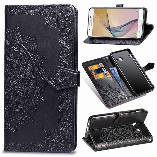 Embossing Imprint Mandala Flower Leather Wallet Case for Samsung Galaxy J7 2017 Halo US Edition - Black
