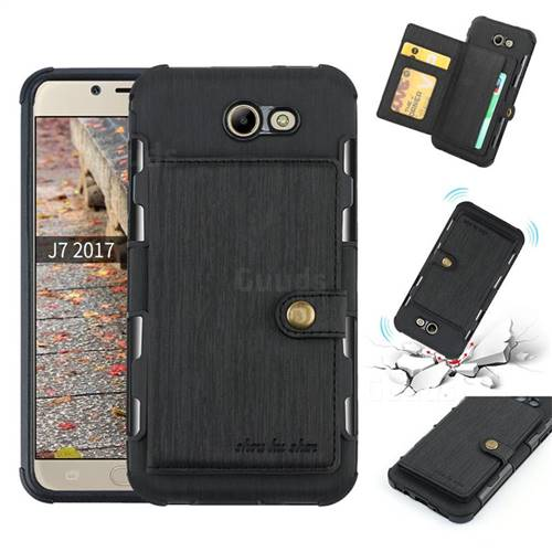 Brush Multi-function Leather Phone Case for Samsung Galaxy J7 2017 Halo US Edition - Black