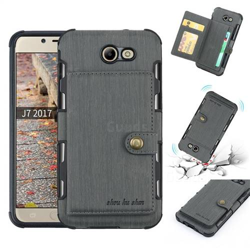 Brush Multi-function Leather Phone Case for Samsung Galaxy J7 2017 Halo US Edition - Gray