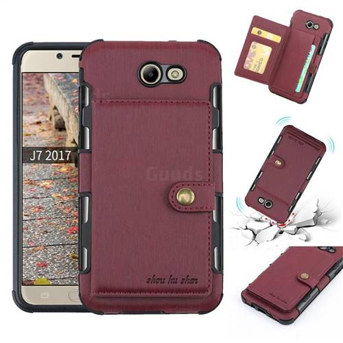 Brush Multi-function Leather Phone Case for Samsung Galaxy J7 2017 Halo US Edition - Wine Red