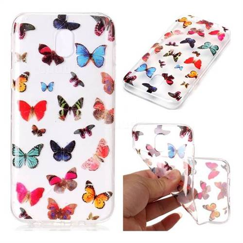 Colorful Butterfly Super Clear Soft TPU Back Cover for Samsung Galaxy J7 2017 J730 Eurasian