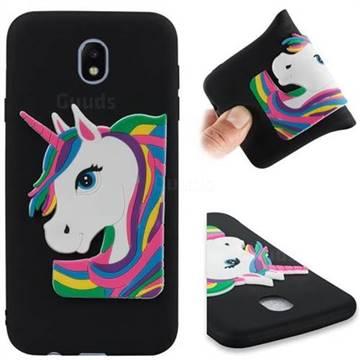 Rainbow Unicorn Soft 3D Silicone Case for Samsung Galaxy J7 2017 J730 Eurasian - Black