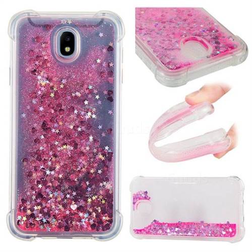 Dynamic Liquid Glitter Sand Quicksand TPU Case for Samsung Galaxy J7 2017 J730 Eurasian - Pink Love Heart