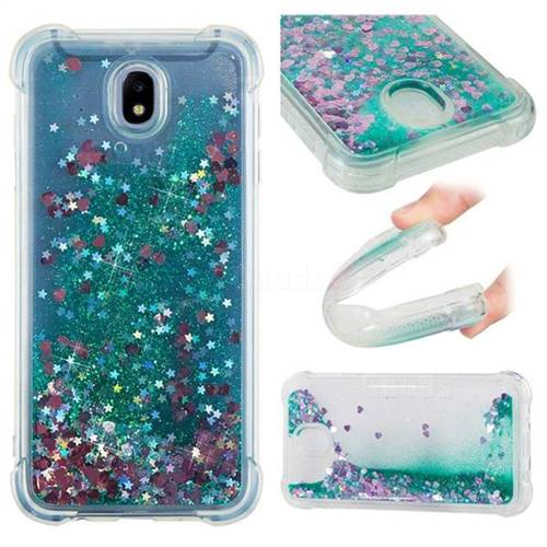 Dynamic Liquid Glitter Sand Quicksand TPU Case for Samsung Galaxy J7 2017 J730 Eurasian - Green Love Heart