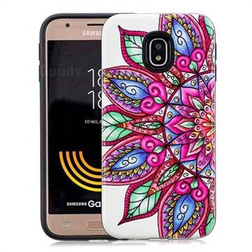 Mandara Flower Pattern 2 in 1 PC + TPU Glossy Embossed Back Cover for Samsung Galaxy J7 2017 J730 Eurasian