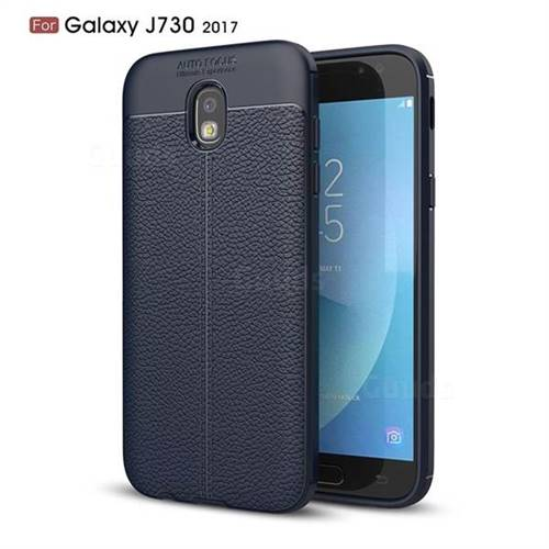 Luxury Auto Focus Litchi Texture Silicone TPU Back Cover for Samsung Galaxy J7 2017 J730 Eurasian - Dark Blue