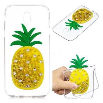Gold Pineapple Liquid Quicksand Soft 3D Cartoon Case for Samsung Galaxy J7 2017 J730 Eurasian