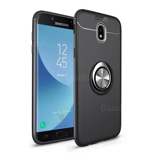 Auto Focus Invisible Ring Holder Soft Phone Case for Samsung Galaxy J7 2017 J730 Eurasian - Black