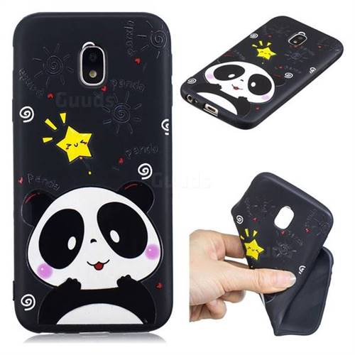 Cute Bear 3D Embossed Relief Black TPU Cell Phone Back Cover for Samsung Galaxy J7 2017 J730 Eurasian