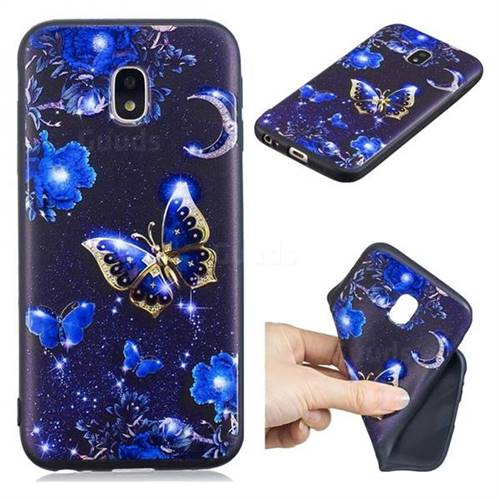Phnom Penh Butterfly 3D Embossed Relief Black TPU Cell Phone Back Cover for Samsung Galaxy J7 2017 J730 Eurasian