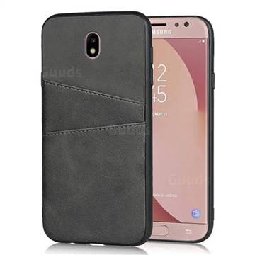 Simple Calf Card Slots Mobile Phone Back Cover for Samsung Galaxy J7 2017 J730 Eurasian - Black