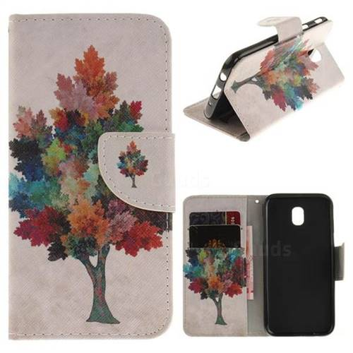Colored Tree PU Leather Wallet Case for Samsung Galaxy J7 2017 J730 Eurasian