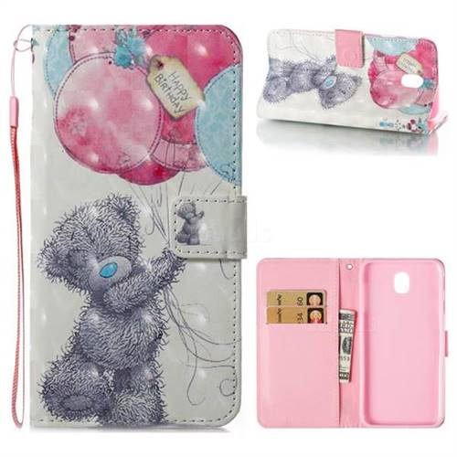 Gray Bear 3D Painted Leather Wallet Case for Samsung Galaxy J7 2017 J730 Eurasian