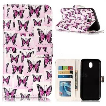 Butterflies Stickers 3D Relief Oil PU Leather Wallet Case for Samsung Galaxy J7 2017 J730 Eurasian