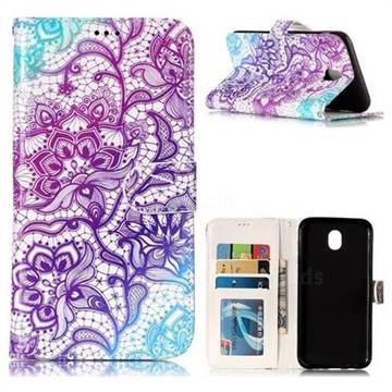 Purple Lotus 3D Relief Oil PU Leather Wallet Case for Samsung Galaxy J7 2017 J730 Eurasian