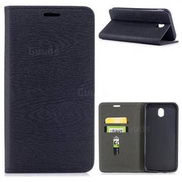 Tree Bark Pattern Automatic suction Leather Wallet Case for Samsung Galaxy J7 2017 J730 Eurasian - Black