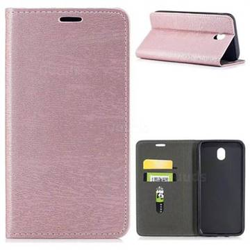 Tree Bark Pattern Automatic suction Leather Wallet Case for Samsung Galaxy J7 2017 J730 Eurasian - Rose Gold